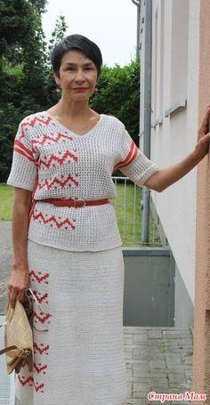 Crochet Dress Girl, Crochet Clothes, Crochet Top, 2 Piece Outfits, Short Sleeve Dresses, Costumes, Elegant, Tops, Fashion