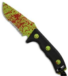 """Microtech Currahee Zombie Green Drop Point Knife Fixed Blade (4.5"""" Serr) 102-2Z"""