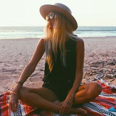 The Salty Blonde makin us wish siesta'n on the beach w/ her in our Palm Trees Tank
