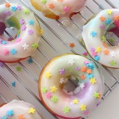 Brighten up your morning with these yummy, colorful doughnuts.