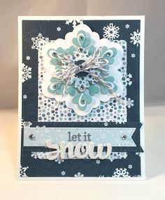 """card christmas snowflake - Echo Park paper pad Hello Winter """"Hello Winter"""" collection The Paper Players: PP273: A Tic Tac Toe Challenge from Sandy #EchoParkPaper"""