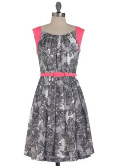 At the Break of Neon Dress by Eva Franco - Mid-length, Pink, Black, Floral, Pleats, Party, Sheath / Shift, Cap Sleeves, Spring, Belted, Grey, White