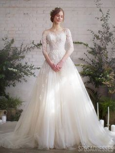 Long Sleeve Wedding, Long Wedding Dresses, Bridal Dresses, Fairy Wedding Dress, Lace Sleeve Wedding Dress, Lace Wedding Gowns, A Line Wedding Dress With Sleeves, Custom Wedding Dress, Tulle Wedding