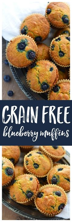 Grain Free Blueberry Muffins are and easy and delicious breakfast that can be made ahead for busy mornings. These tasty muffins are gluten free, dairy free, grain free, naturally sweetened, and paleo.