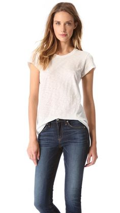 Women's classic white round-neck tee. 100% cotton, slubbed jersey, whipstitched seams