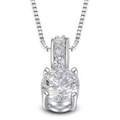 "18K Platinum and CZ Diamond Necklace💎 18K Platinum Plated CZ Diamond Necklace. 💎Total length of chain with extender 20"" Jewelry Necklaces"