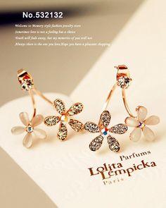 Fashion Hot Cat's Eye Opal Cluster Iridescent Rhinestone AB Crystals Flower Back Hanging hook Stud Earrings Women Jewelry