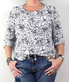 Pretty Black and White Floral Top by Hot Cotton USA made and nice quality