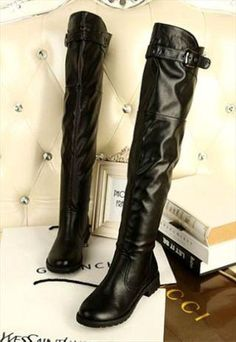 Sexy Black Buckle Design Knee High Boots