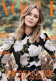 Who made Emily Blunt's black floral dress that she wore on the cover of Vogue magazine?
