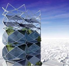 The Vertical City project in Mexico City is a skyscraper park which was designed to help reduce thickening smog and deal with overpopulation issues.    Designer Jorge Hernandez De La Garza created the building with stacked solar-powered panels with gardens inside.