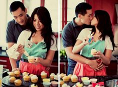 Cute couple engagement session, couple loves to bake...love this!!