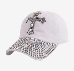 Women girl ruby silver rhinestone casual snapback hat