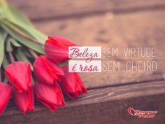 Beleza sem virtude, é rosa sem cheiro.  #reflexão #beleza #rosas #flores