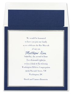 Layered invitation features white card stock layered atop silver card stock. These two are then adhered to a beautiful navy card to complete the look.  Raised Printing  Three Layer Invitation