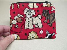 Quilted Dog Coin Purse zippered by CutePurseNalities on Etsy