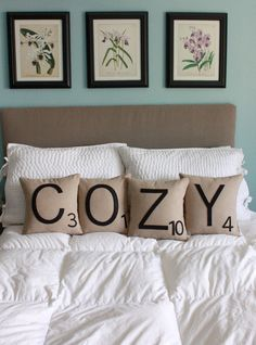 Scrabble Pillows - going to make a g with 4 {i know the real value is 2...but we are 4!}