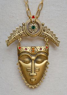 Vintage Aztec Tribal Mask Necklace  Vintage by RueRueOriginals, $69.00