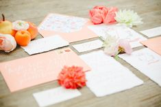 Coral and peach wedding invitations   Claire Graham Photography    see more on: http://burnettsboards.com/2015/04/coral-peach-wedding-editorial/