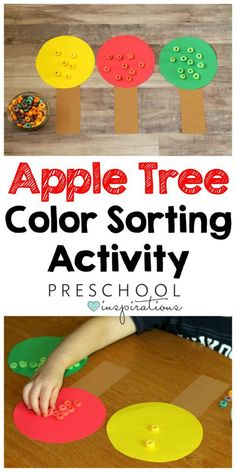 Color Sorting Preschool Apple Activity fine motor practice This preschool apple activity is a fun, hands-on way for children to practice identifying and sorting different colored apples. Preschool Apple Activities, Preschool Apple Theme, Preschool Colors, Preschool Lesson Plans, Preschool Apples, Apple Crafts For Preschoolers, Preschool Printables, Indoor Activities, Summer Activities