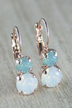 Aqua mint white opal earring Rose gold