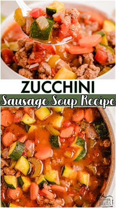 Zucchini Sausage Soup made with fresh zucchini, tomatoes, sausage & a flavorful blend of spices. Fantastic sausage soup with zucchini topped with Parmesan cheese for when the garden is still overflowing! #soup #zucchini #sausage #dinner #easyrecipe from BUTTER WITH A SIDE OF BREAD Chowder Recipes, Soup Recipes, Healthy Recipes, Keto Recipes, Side Dish Recipes, Easy Dinner Recipes, Easy Meals, Easy Recipes, Zucchini Side Dishes