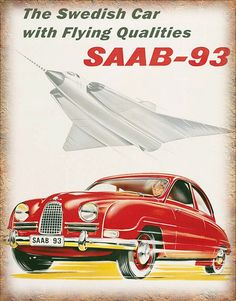 SAAB-93 oldtimer vintage advertentie metalen door PlaquesKingdom