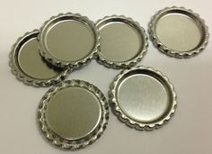 100 New Flat Flattened Linerless Silver Chrome Bottle Cap Crowns caps No Liners