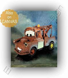 Lightning McQueen Disney Cars Tow Mater Art Print Disney Disney Rooms, Disney Cars, Car Nursery, Nursery Art, Vintage Cars For Sale, Preppy Car Accessories, Tow Mater, Car Wall Art, Movie Gift