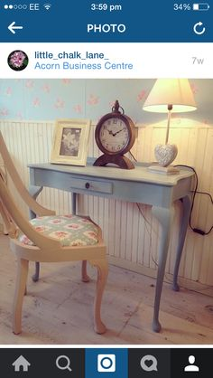 Hall table painted in Summer sky by Autentico Chalk paint by Little Chalk Lane