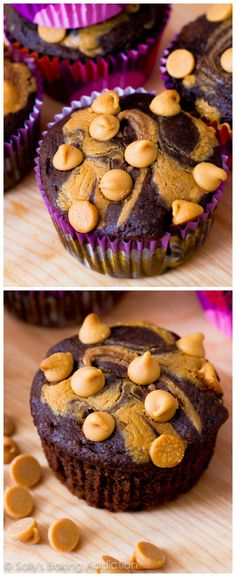Lightened-up chocolate peanut butter cupcakes made from Greek yogurt, whole wheat flour, peanut butter, cocoa powder, and not much else!