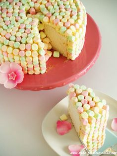 angel food cake w. flavored marshmallows.   @Marianne Glass Correa Koedyker Swanson i cant help but think of kindergarden when i see these marshmellows