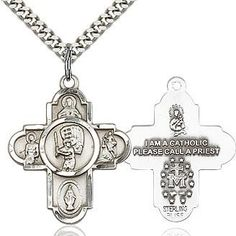3//4 tall Swimming St Christopher Medal in Fine Pewter 18 Rhodium Plated Clasp Chain