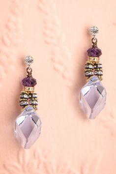 Tsuyu - Long light blue crystal Tova earrings with purple stone, zircons