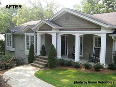 ranch style home with beatiful front porch addition