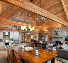 Elk Mountain great room. E. B. Mahoney Builders.