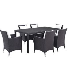 Ryele 7 Piece Outdoor Patio Dining Set with Cushions Cushion Color: Espresso White - http://diningsetspot.com/ryele-7-piece-outdoor-patio-dining-set-with-cushions-cushion-color-espresso-white-725490705/