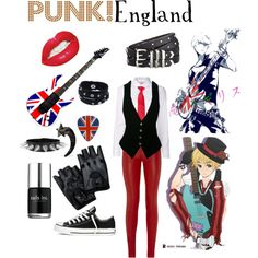 """Punk Enland (hetalia)"" by isabel-kitty-marie on Polyvore"