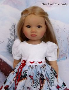 """IN THE MEADOW WE CAN BUILD A SNOWMAN by OCL fits 18"""" KIDZ N CATS. She was so excited to have a new dress that I had a hard time getting her to stand still long enough for photos. She kept wanting to twirl and show off the dress. 