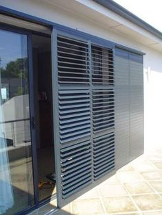 The Aluvent adjustable blade shutters comprises of low maintenance aluminium louvre blades enclosed within an aluminium frame. Balcony Grill Design, Window Grill Design, Outdoor Shutters, Outdoor Blinds, Bermuda Shutters, House Shutters, Shutter Doors, Windows And Doors, House Plans
