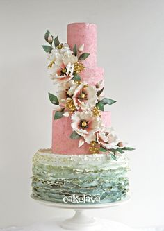 pink and sage wedding cake by Rick Reichart, cakelava