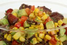 Corn, Avocado, Biltong and Tomato Salad recipe Kiwi Recipes, Tomato Salad Recipes, South African Salad Recipes, Braai Salads, Braai Recipes, Biltong, Corn Salads, Beef Jerky, Grass Fed Beef