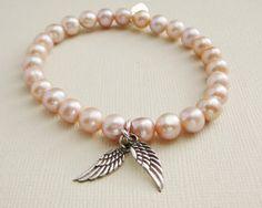 Pink Freshwater Pearl Bracelets sterling Angel Wings charm  $35.00