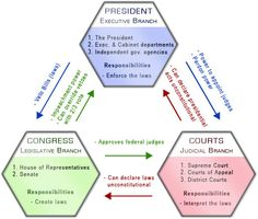 Branches of Government diagram; color-coding checks and balances
