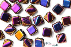 Czech Glass 2-Hole Silky Bead  6x6mm - Jet Full Sliperit (Ref. #CZSLK-6x6-23980-29503)