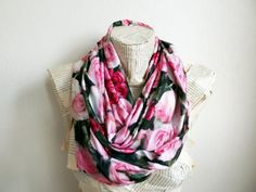 Floral Rose Infinity Scarf Trendy scarf Women by HeraScarf on Etsy