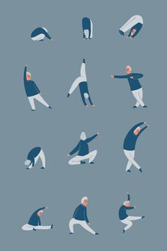 Yanna Chintsova / Pattern / Pattern Design / Print / Print Design / Ideas / Inspirarion / Surface Pattern / Repeat Pattern / Textile Design / Quirck / Fun / People / Character / Character Design / Man / Dancing / Moving / Movement / Positions / Dance Poses / Dance Figures / Blue / Stretching / Yoga / Asanas