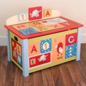 This Kidsline Alphabet Soup toy box would look great in any kids bedroom, nursery or school.    This super alphabet soup toy box is perfect for little girls and boys, that love animals, fish and creatures. This  fabulous toy box comes in bright shades with letters of the alphabet and lots of bright colours set on  lovely shades of reds, blues, greens and oranges background.