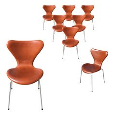 Arne Jacobsen For Fritz Hansen Series 7 Chairs | From a unique collection of antique and modern side chairs at http://www.1stdibs.com/furniture/seating/side-chairs/