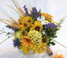 Sunflower bridal bouquet silk flower by ChurchMouseCreations, $79.00